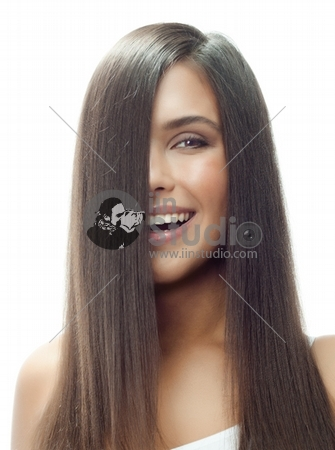 portrait of attractive caucasian smiling woman isolated on white studio shot long hair brunette
