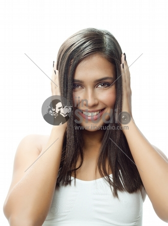 portrait of attractive caucasian smiling woman isolated on white studio shot brunette with long hair