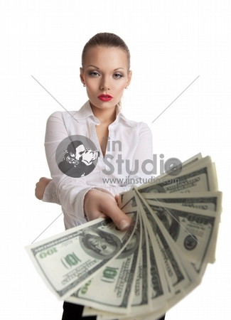 young business woman offer a bundle of money