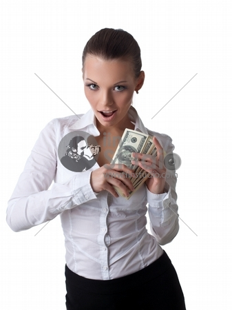 Sexy young business woman take lots of money