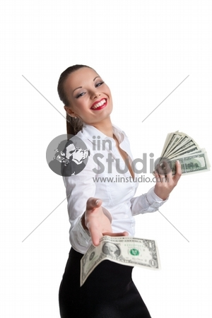 sexy business woman give a dollar with defiance