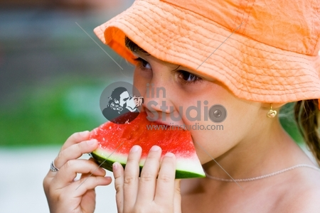 Watermelon and girl
