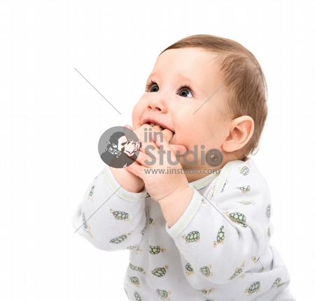 Little baby on a white background.