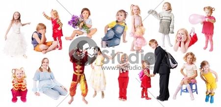 children isolated on white background