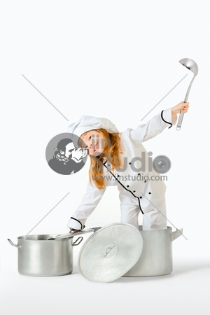 Girl playing cooking chef