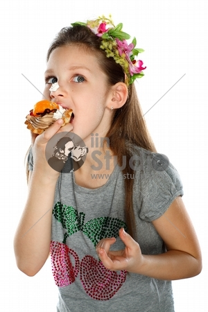 happy child with fruit cake