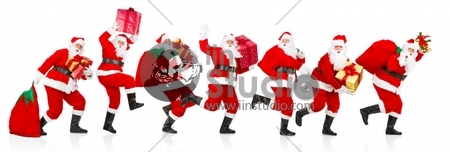 Happy running Christmas Santa. Isolated over white background