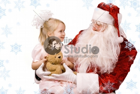 Santa Claus And A Little Girl