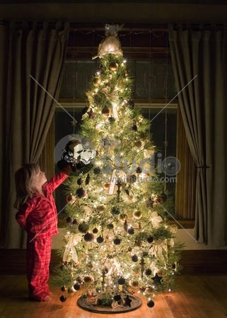 young girl dressed in her pajamas admiring a beautifully decorated Christmas tree at night