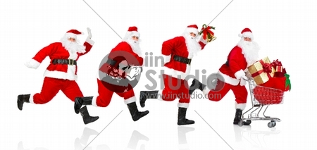 Happy running Santa Claus with gifts. Christmas. Isolated on white background.