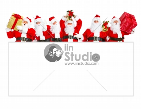 Group of happy Santa Claus with christmas poster banner. Isolated on white background.