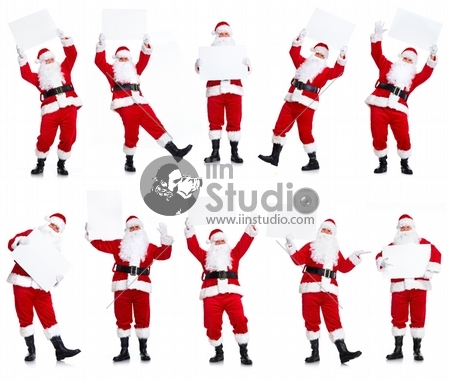 Happy Santa Claus with Christmas blank poster banner