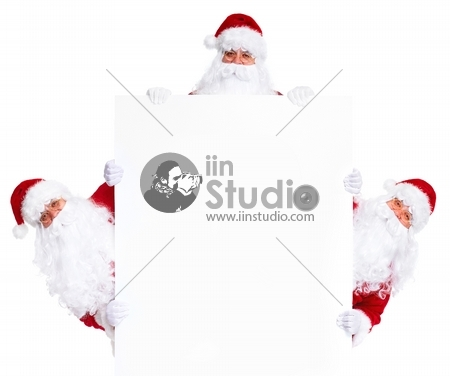 Happy Santa Claus with Christmas poster banner
