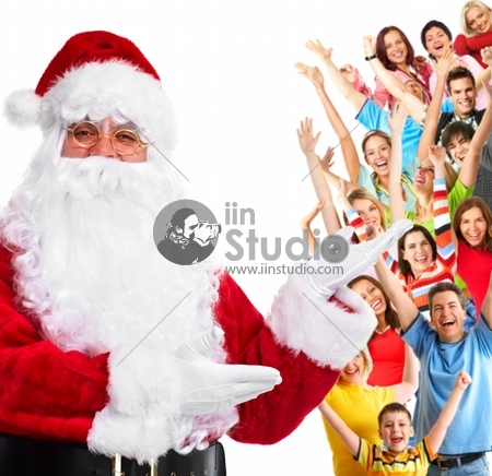 Happy Santa Claus and a group of happy people