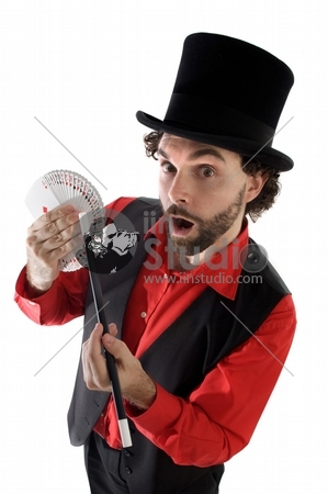 surprised magician doing a trick of letters