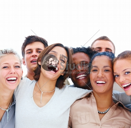 Closeup Portrait Of Young Men And Women Laughing Isolated On White Background