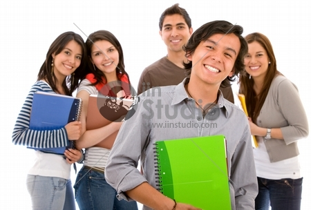 Group of college or university students isolated on white