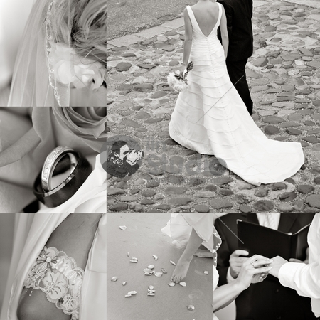 Wedding collage showcasing a couple in Charleston on a cobblestone street