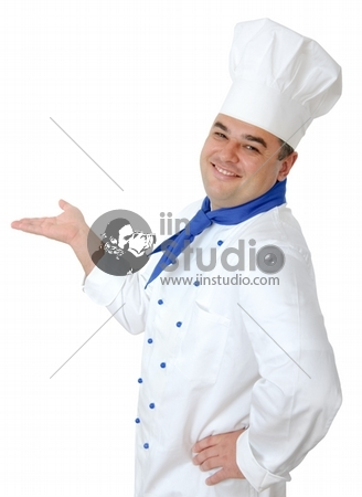 portrait of a handsome cook isolated over white