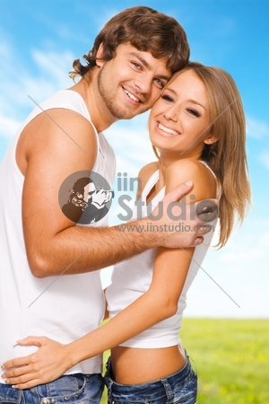 Beautiful young couple in casual clothing