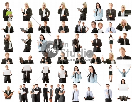 Collection of business people over white background