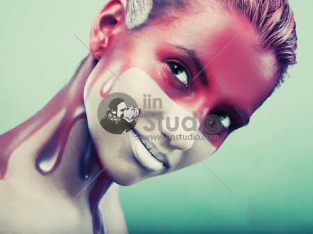 Young Woman With Creative Face-Art