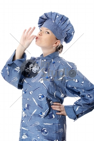 Happy attractive cook woman becoming lean the fingers a over whi