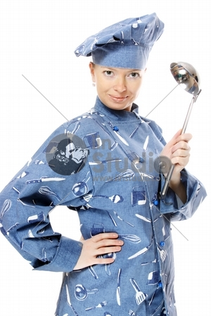 Attractive cook woman with ladle in her hand