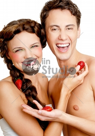attractive young couple with strawberry