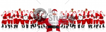 Group of happy Santa Claus. Isolated on white background.