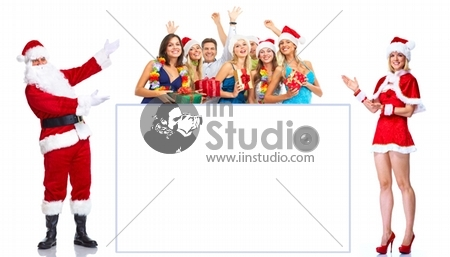 Happy people and Santa Claus with poster. Isolated on white background.