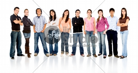 Group of casual happy people smiling and standing