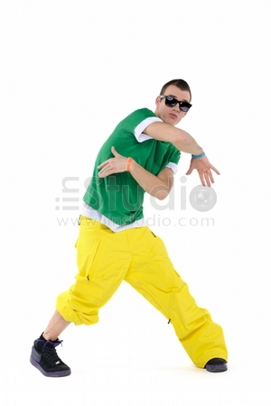 Male dancer posing, isolated on white