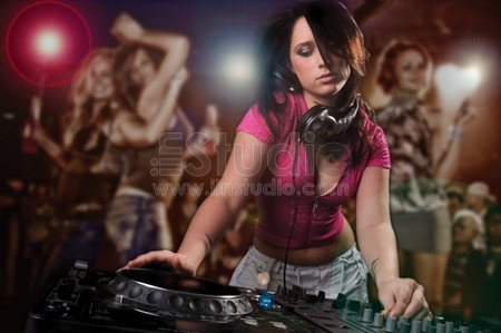 Beautiful DJ Girl Performing with People Dancing in the background