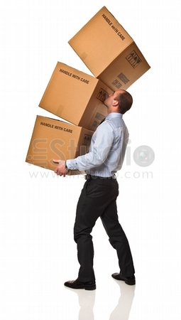 young businessman has problem to carry his box isolaed on white