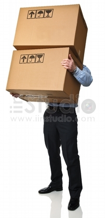 Man carry boxes isolated on white background