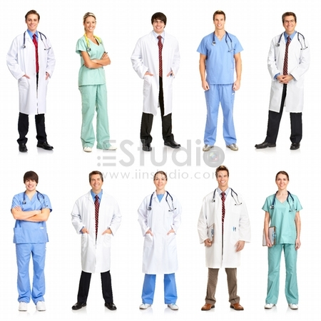 Smiling medical people with stethoscopes - Doctors and nurses over white background