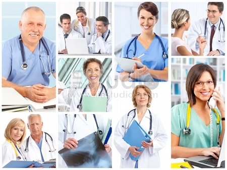 Smiling medical doctors with stethoscope