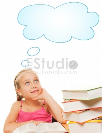 Picture of a dreaming schoolgirl
