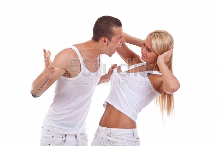 Domestic violence - picture of a man screaming and pulling his girlfriends shirt