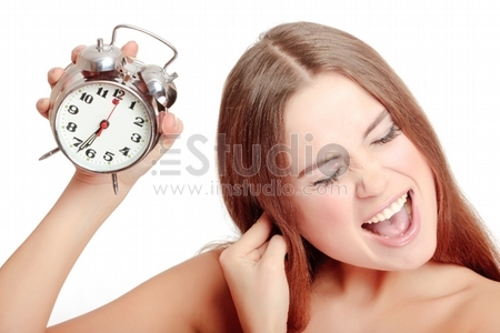 Unpleasant morning, Unhappy girl waking up too late