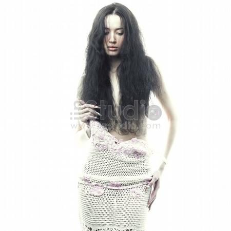 Portrait of undress elegant woman, Studio fashion photo