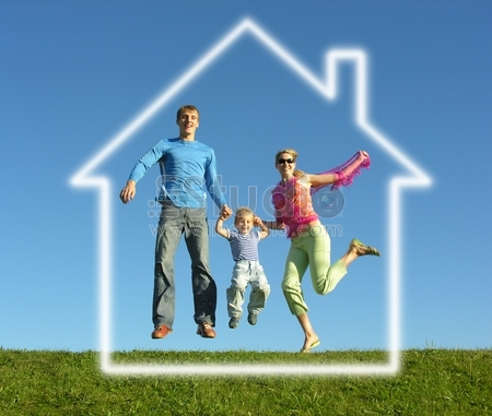 Fly happy family with dream house