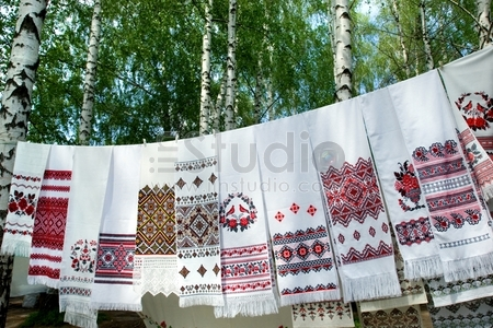 Traditional Ukrainian embroidery on towels on Pirogovo country fair, Kiev