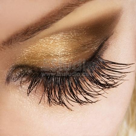 Woman eye with extremely long eyelashes