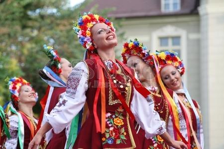 PLOVDIV, BULGARIA - JULY 27: Ukrainian dancers perform at the International Folklore Festival on July 27, 2009 in Plovdiv, Bulgaria.