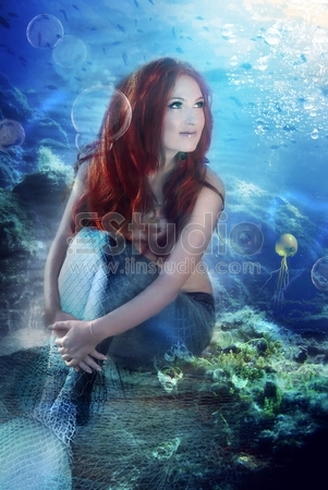Mythology Being, Mermaid With Red Floating Hair