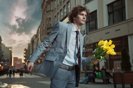Man with bunch of flower