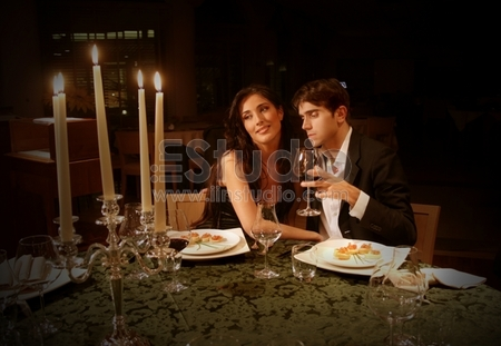 A couple at restaurant, Candle Light Dinner