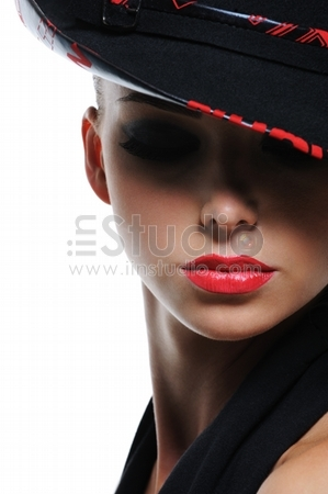 Woman with bright red sexy lips